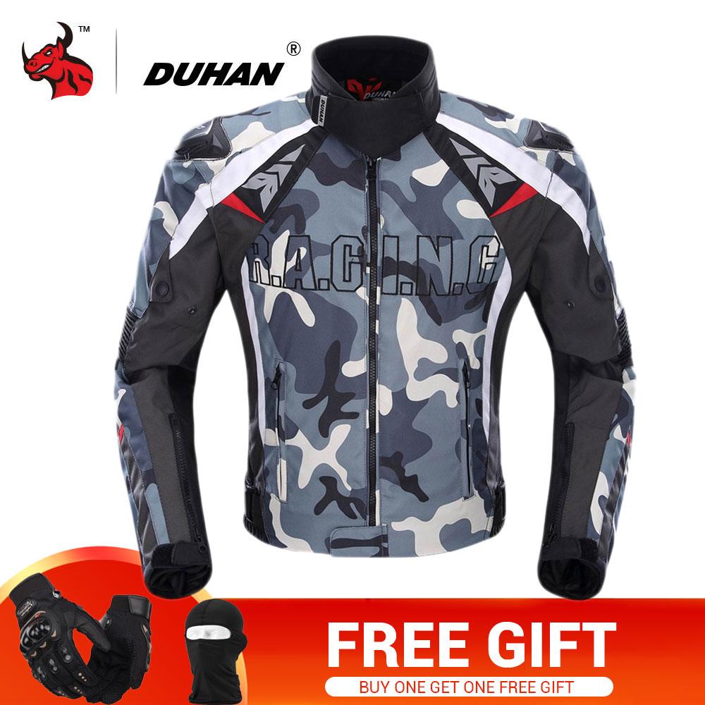 DUHAN Motorcycle Jacket Men Camouflage Motocross Off-Road Racing Jacket Protective Gear Moto Guards Motorcycle Protection duhan oxford cloth motorcycle jacket motocross off road racing jacket men rider clothes with five pcs protector gurds