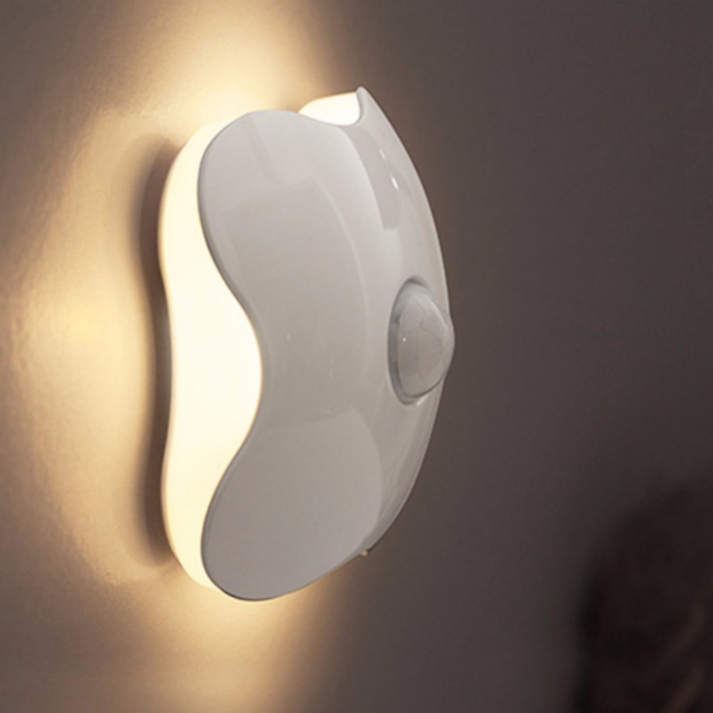 Motion Sensor Led Cabinet Night Light/Induction Sensor Wall Lamp Corridor Night Light Clover Shape Warm White Yellow Light for K