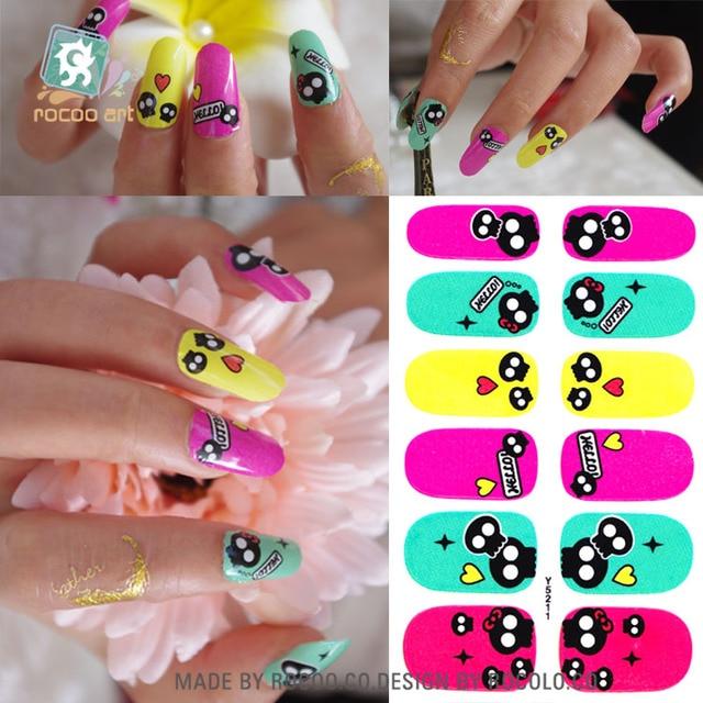 Y5211/Adhesive Nail Art Stickers Kawaii Cartoon Skull Smile Design ...
