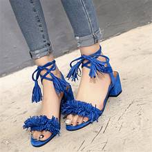 2016 summer Sexy Patent Leather 6cm mid Heels Women Pumps high-grade tassel sandals female shoes thick cross strap shoes