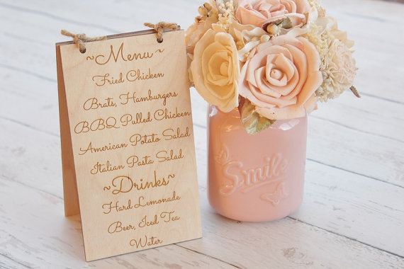 Table Menu Easel Sign Rustic Wedding Table Number Easel Sign Table Number with Menu Table Sign