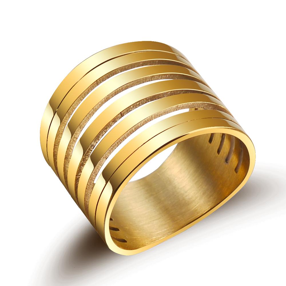 New Punk Multilayer Hollow Stainless Steel Rings For Men Wide Gold Color Trendy Stack Ring