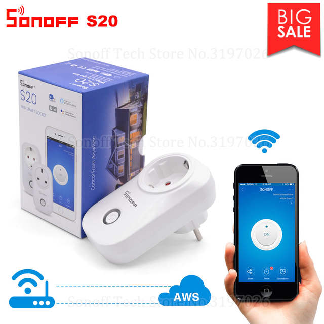 US $11 49 30% OFF|Itead Sonoff S20 Smart WiFi Socket CN AU UK US EU Plug  Wireless Remote Outlet Wifi Switch Works With Alexa Google Home  Assistant-in