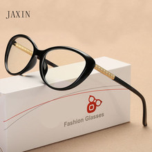 JAXIN Fashion cat eye flat mirror ladies brand design glasses women  cute sexy retro transparent UV400 moda mujer 2018
