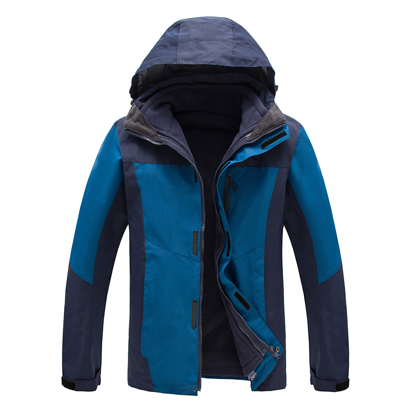ФОТО 3in1 Mens Warm Leisure Sport Hiking Windbreaker Coat Winter Waterproof Outdoor Jacket Men Outerwear Fleece Inner Chaqueta Hombre