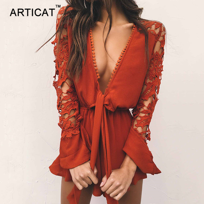 Articat Ruffles Lace Sexy Playsuit Women Summer Hollow Out V-Neck Loose Women Rompers Jumpsuit Beach Casual Ladies Playsuits