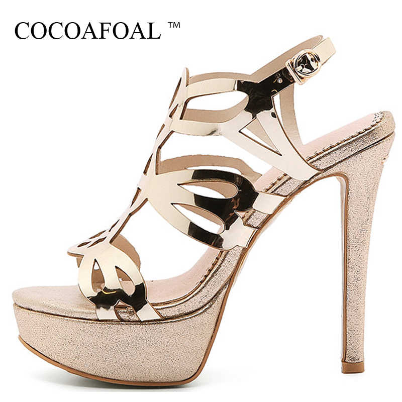 e61614b434 COCOAFOAL Women Gold Open Toe Heels Sandals Plus Size 33 43 Platform Shoes  Sexy Silver Peep
