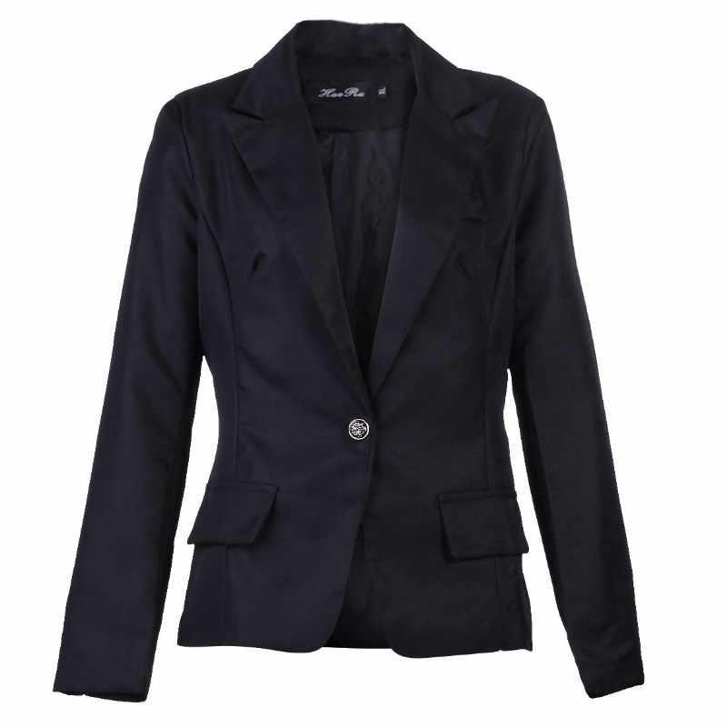 Moda Simple mujeres negro traje chaqueta negocios manga larga Delgado un botón Outwear nuevo otoño
