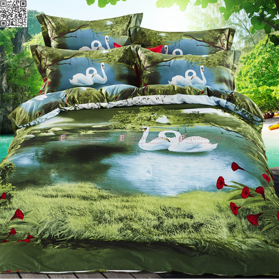 100% cotton nature 3D bedding set flowers swans bed linen duvet cover bed sheet full queen size,Patterns realistic high d