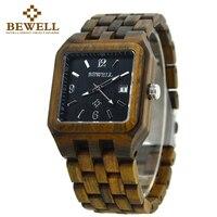 BEWELL 2017 BronzQuartz Wood Watch Men Wooden Square Dial Auto Date Box Watch Rectangle Men Luxury
