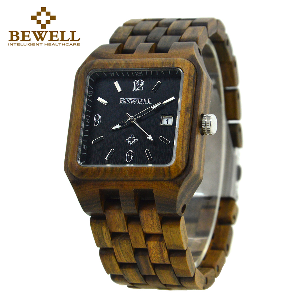 BEWELL BronzQuartz Wood Watch Men Wooden Square Dial Auto Date Box Watch