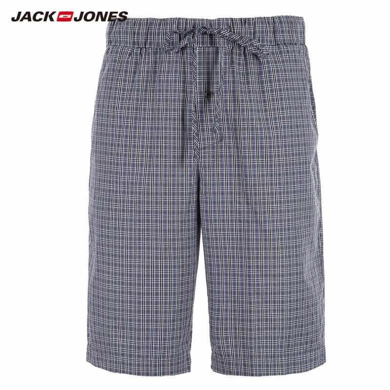JackJones メンズタータンチェック柄の巾着カジュアルショーツソフトボクサーパジャマセクシーなナイトウェアパンツホームウェア E | 2183HD501