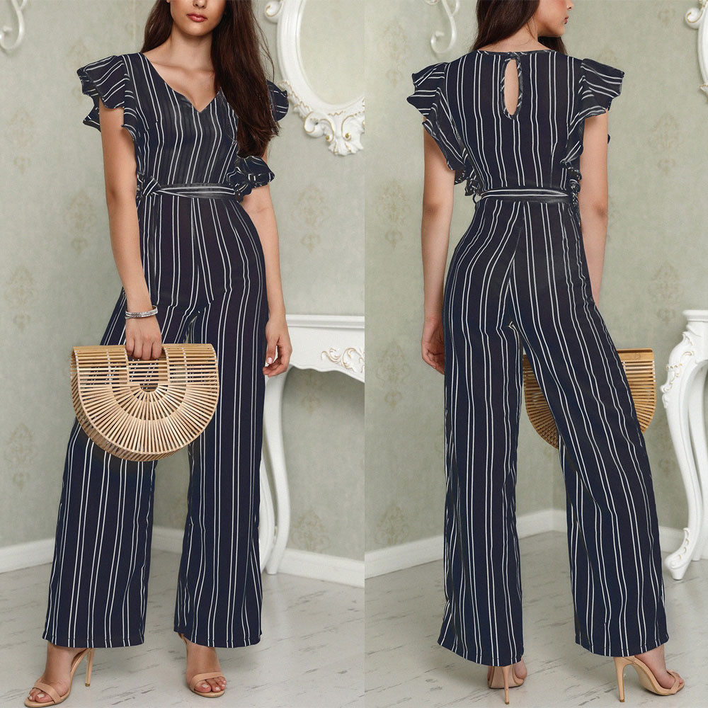 Womens Clubwear Playsuit Striped Holiday Party   Jumpsuit   Sleeveless V-Neck Rompers Chiffon Wide Leg Pants Long Trousers with Belt
