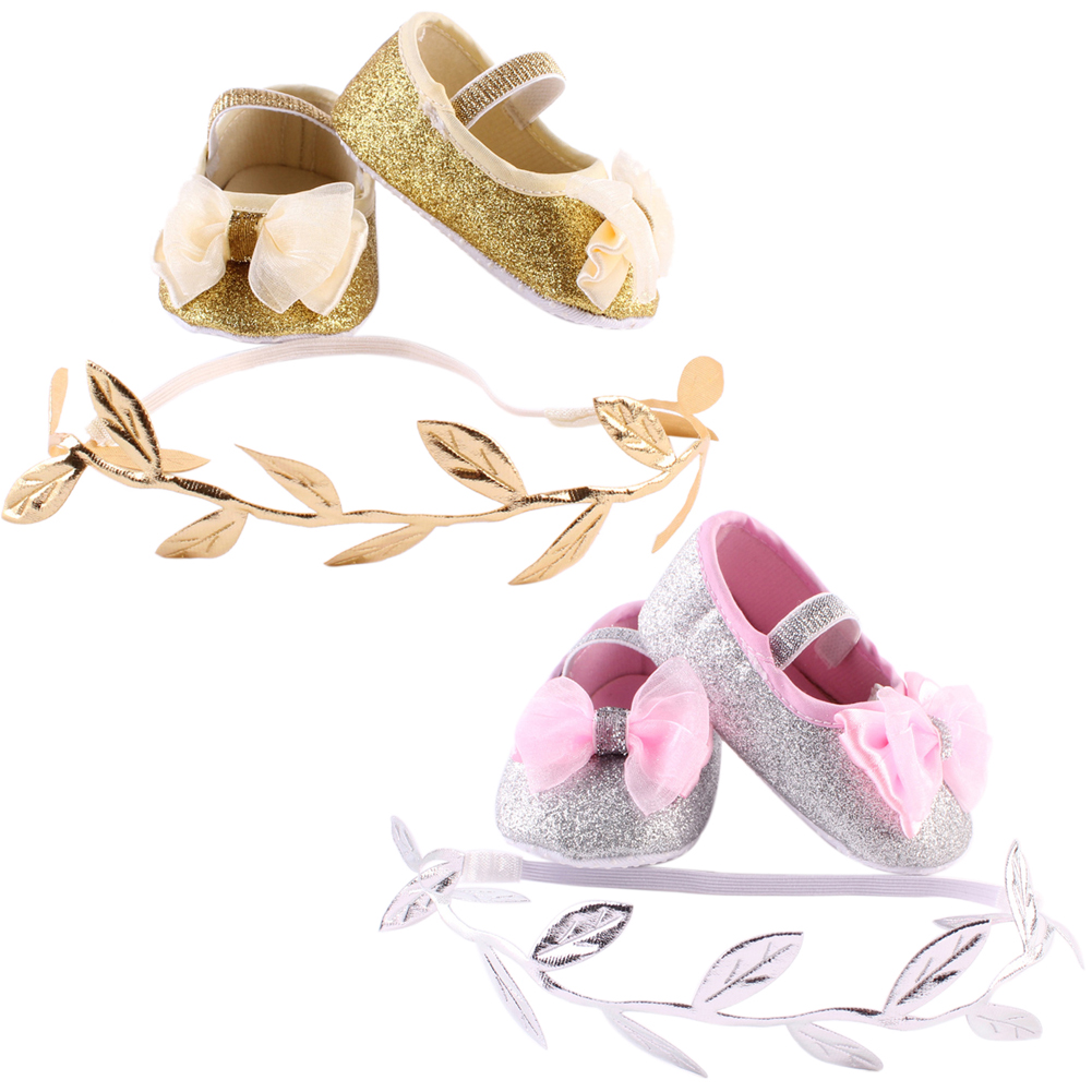 Brand New Cotton Fabric Newborn Baby Girls Shoes Headband Set Baby Booties Shoes First Walker Gold