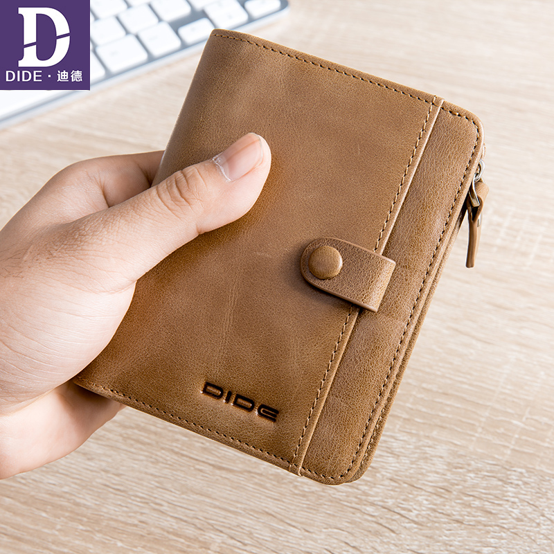 DIDE Mini Pures Wallet male Coin Purse Short Men Wallets Genuine Leather Men Purse casual Vintage Men Cowhide Wallet 755K baellerry small mens wallets vintage dull polish short dollar price male cards purse mini leather men wallet carteira masculina