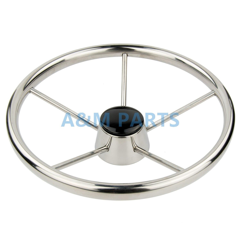 13 5 Boat Steering Wheel Stainless Steel Marine Steering 5 Spoke 25 Degree