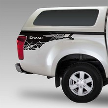 free shipping 2 PC rear trunk side d-max stripe graphic Vinyl car sticker for  isuzu 2012