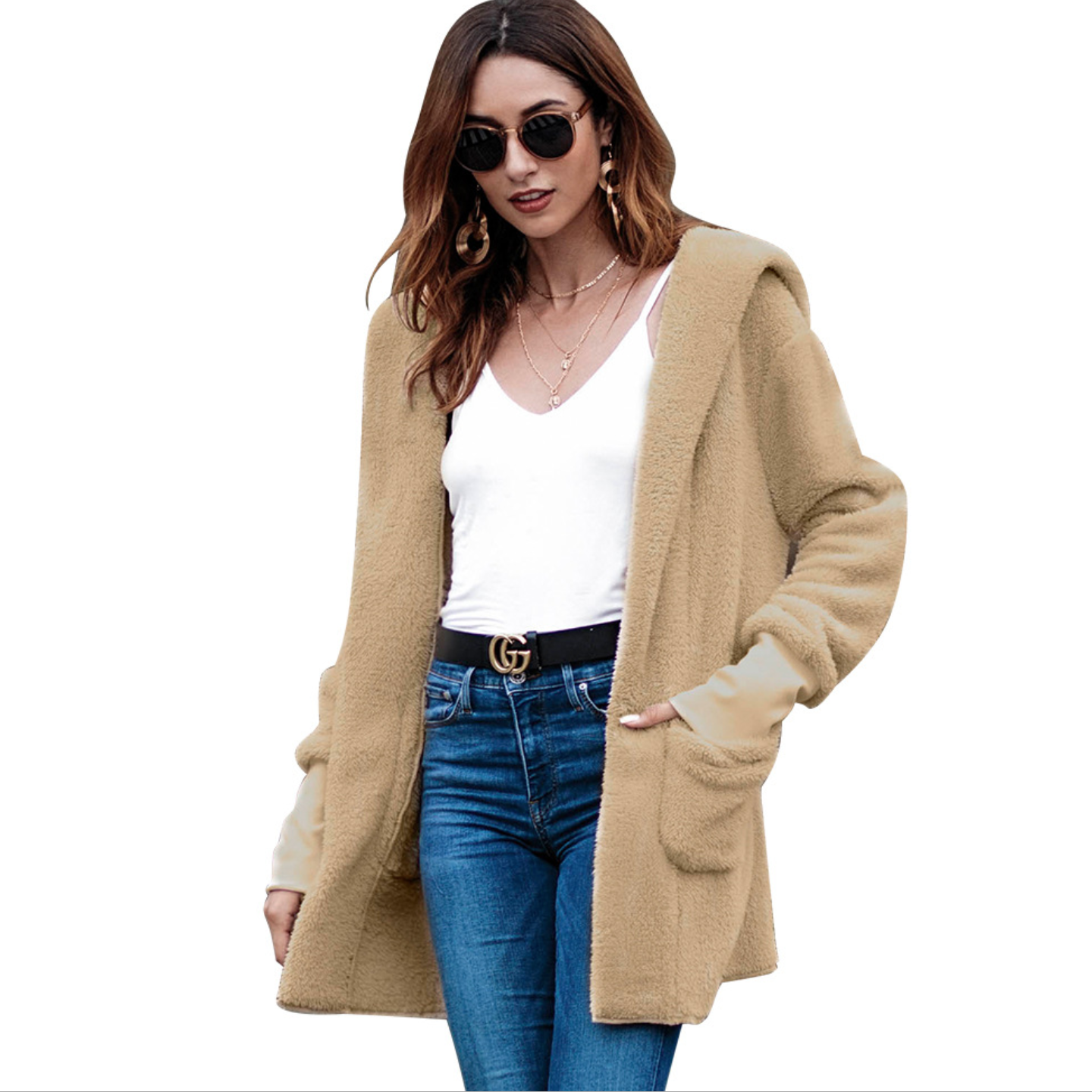 Long Sleeve Fleece Cardigan   Jackets   Women Autumn Winter Fur Hooded Coats Female Casual   Basic     Jacket   Women