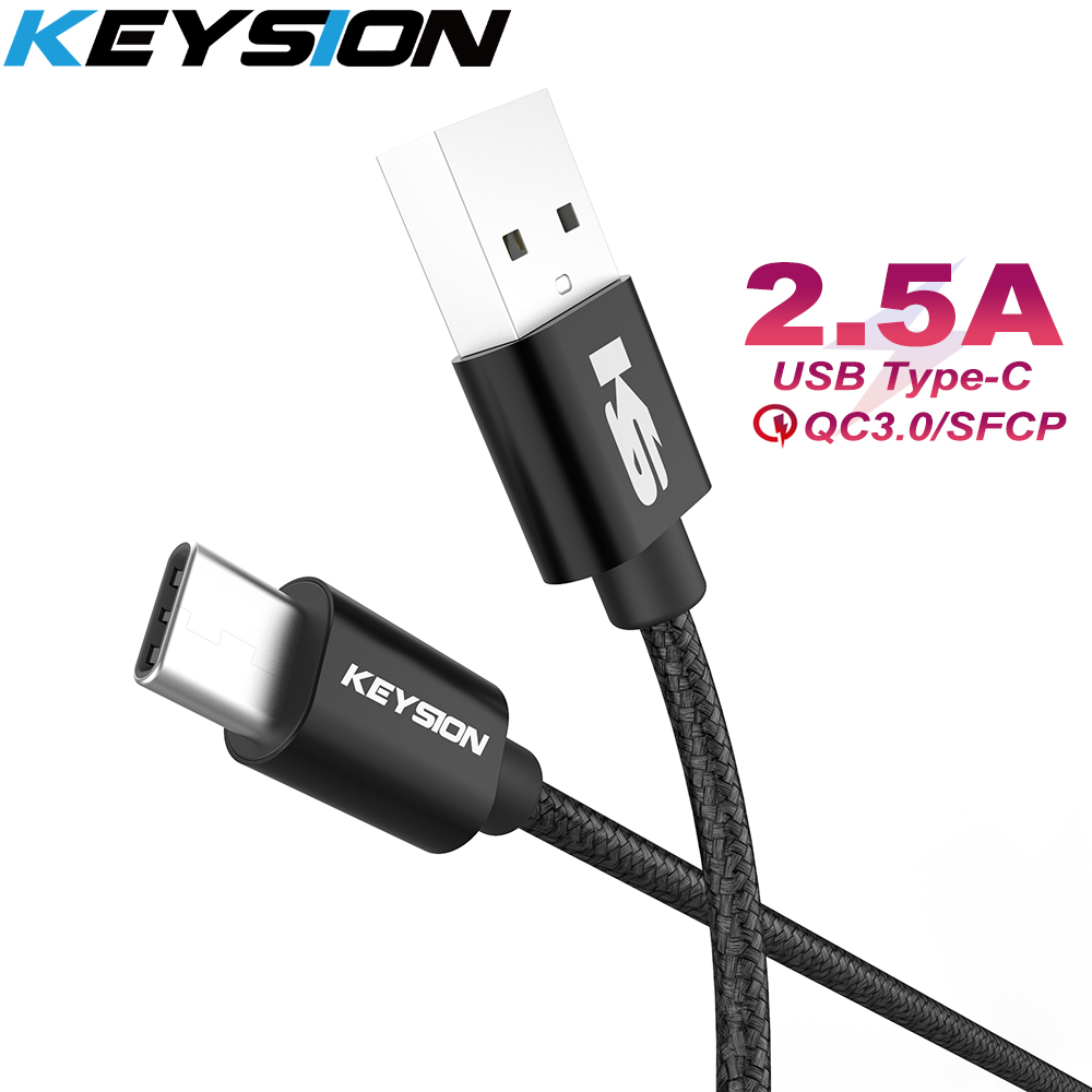 KEYSION C-Cable Fast-Charging-Wire Samsung A50 Note-7 Xiaomi Redmi USB-C Charge-Cord