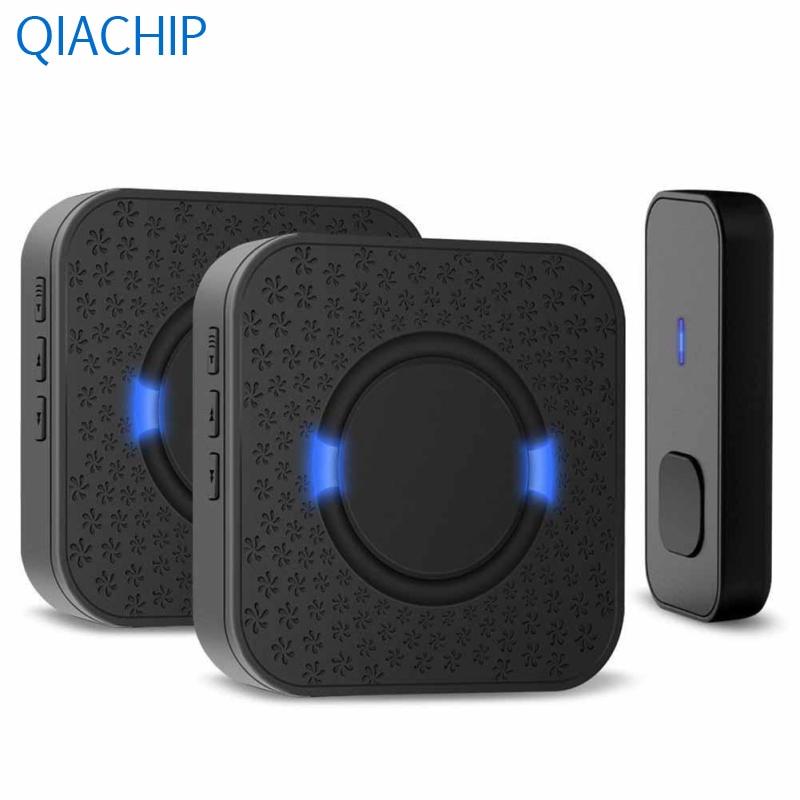 EU US Plug White Black Waterproof Door Bell 433MHz Wireless Doorbell Kit Door Chime Transmitter Receiver 55 Melodies Home Office