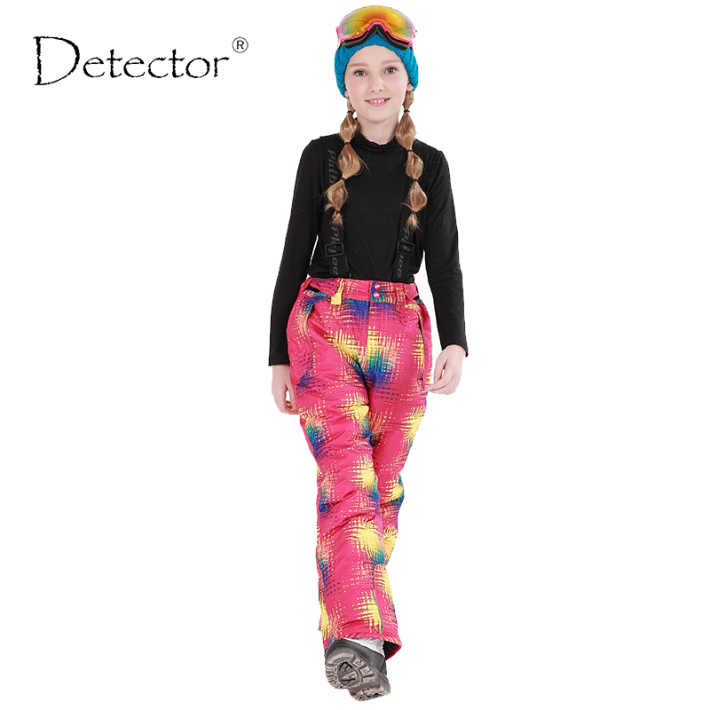 Detector Winter Girls Ski Pants Windproof Overall Pants Tracksuits For Children Waterproof Warm Kids Boys Snow Ski Trousers