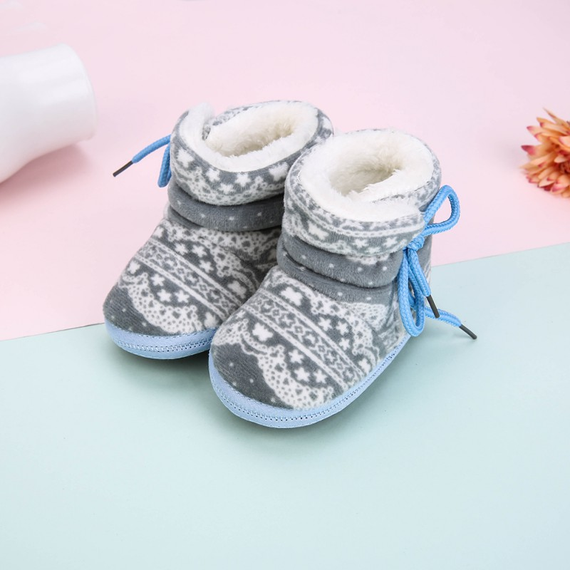Newborn Baby Boots Unisex Kids Winter Shoes Crib Bebe Infant Toddler Printed Pattern Snowfield Snow Boots Booty