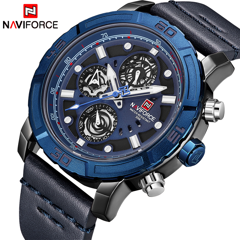 NAVIFORCE Top Brand Men Fashion Quartz Watch Men's Military Sport Watches Male Leather Date Week Analog Clock Relogio Masculino naviforce new luxury men led quartz watch men s fashion military sport watches male date digital analog clock relogio masculino