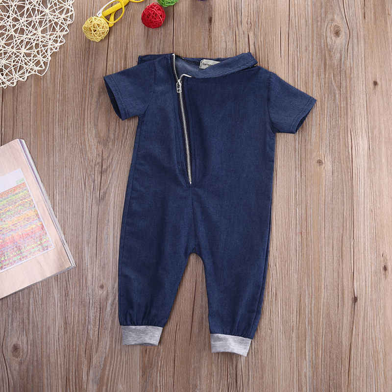 2016 Baby Boys Clothes Denim Romper Short Sleeve arrival Clothing Zipper Jumpsuit Outfits One pieces