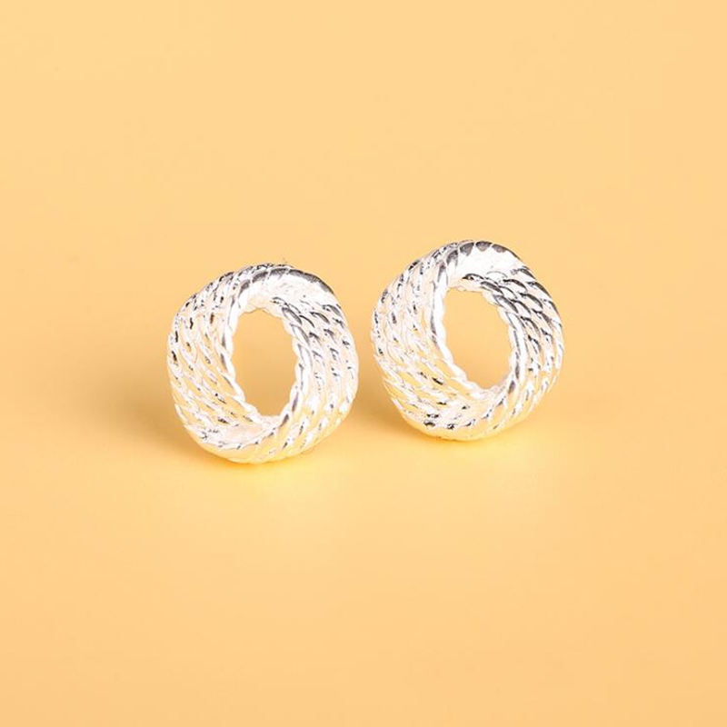Cute New Fashion 925 Jewelry Silver Plated Tennis Net Web Stud Earrings For Women Girl Summer Style Ball Earring Ear Studs Gifts
