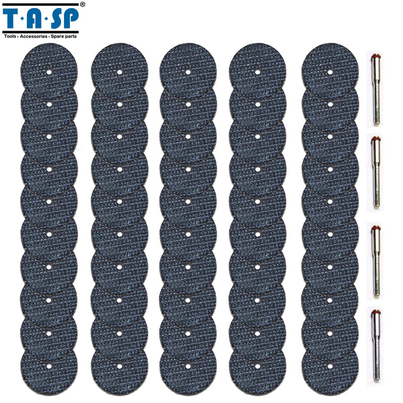 TASP 50pcs Fiberglass Reinforced Cutting Disc Abrasive Cut Off Wheel Set Rotary Tool Accessoreis With 3.2mm Mandrel