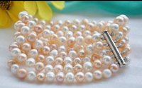 Shippingz6171 5strands 8mm Round Pink White Freshwater Pearl Bracelet 8inch 5 25