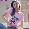 HZLLHX vs angles pink cute women girls t shirt letter fashion casual cotton t-shirt top  Pre-sale