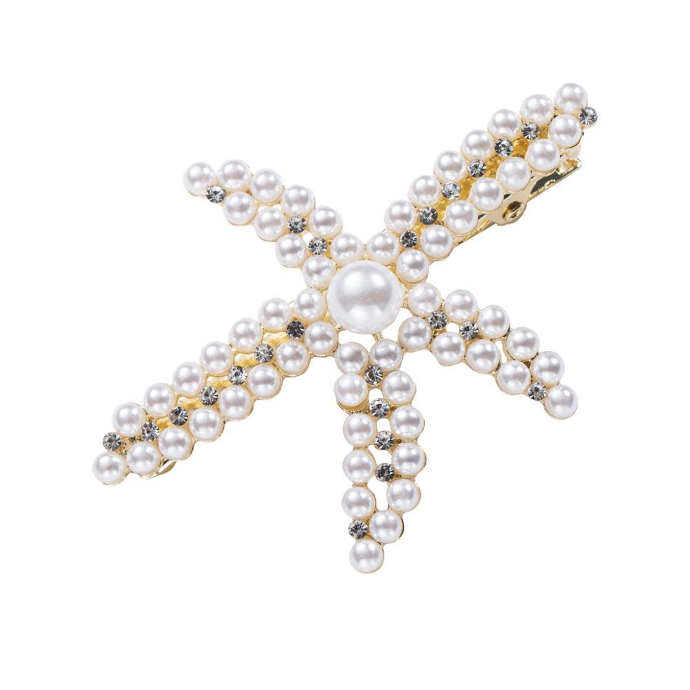 Hair-Clips Headwear Barrettes Starfish Pearl Girl Women Big for Simulated Summer Jewelry