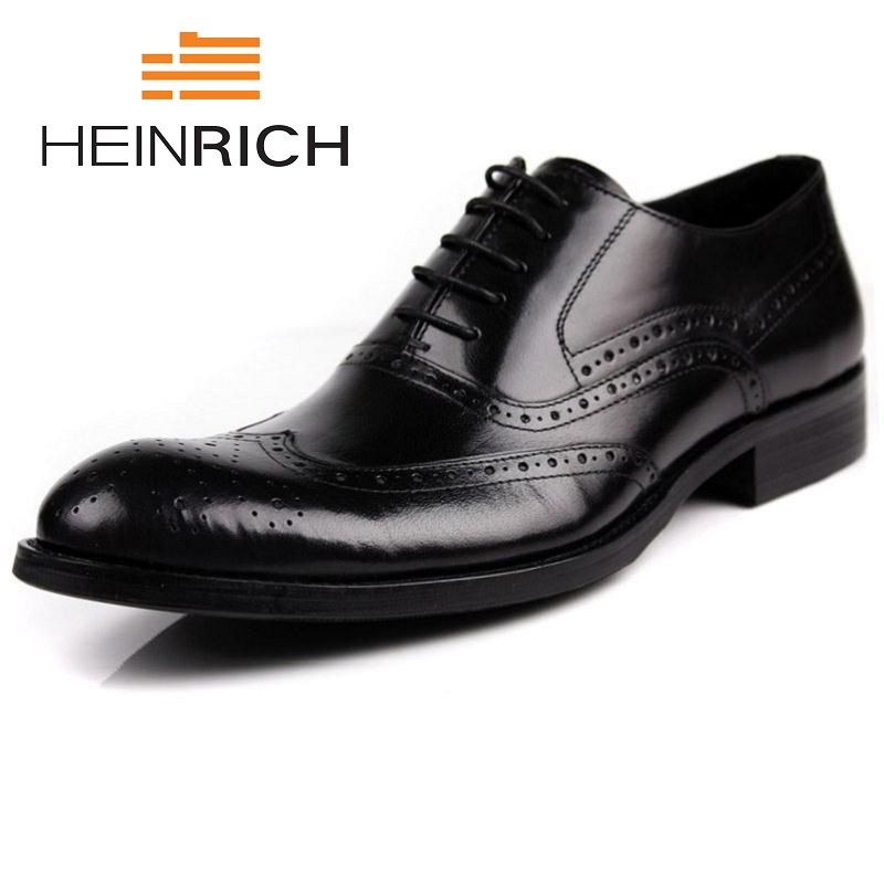 HEINRICH Italian Bullock Carved Leather Men Dress Shoes Pointed Toe Oxfords Lace Up Designer Luxury Shoes Chaussure Homme qffaz new fashion mens formal dress shoes pointed toe genuine leather bullock oxfords shoes lace up designer luxury men shoes