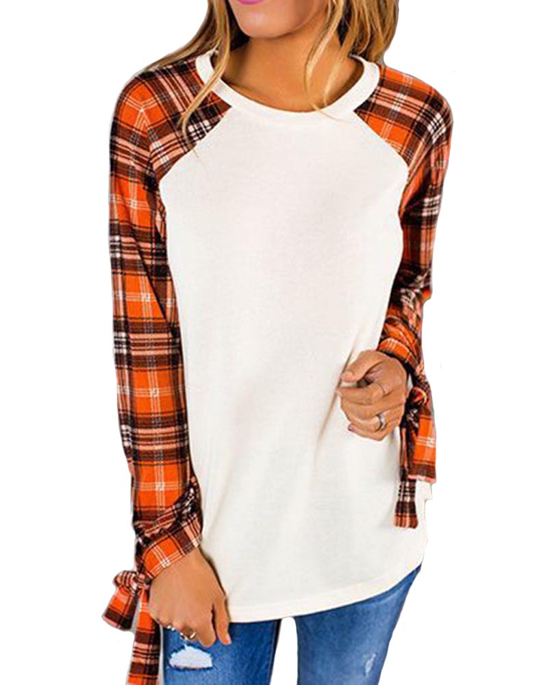 Hitmebox 2018 New Fashion Women Plaid Raglan Long Sleeve Lacing Bowtie Cuff Color Block Tops Pullover Round Neck Checks T Shirts