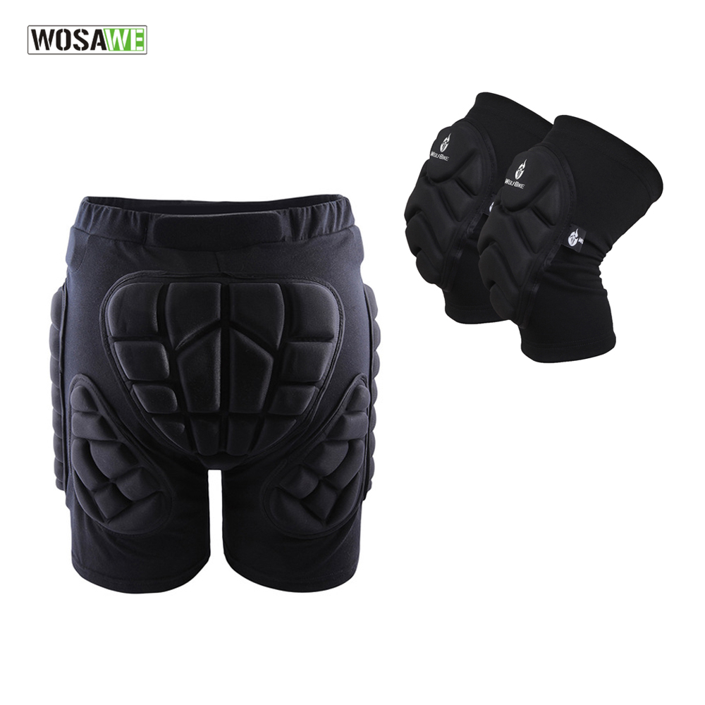 WOSAWE Sports Gear Protective Hip Pad + Knee Pads Ski Skate Skateboard Snowboard Protection Drop Resistance Roller Padded Shorts цены