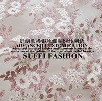 120 cm larghezza luce viola linea dorata ricamato tessuto del merletto per il vestito cheongsam abiti camicia abbigliamento decorazione