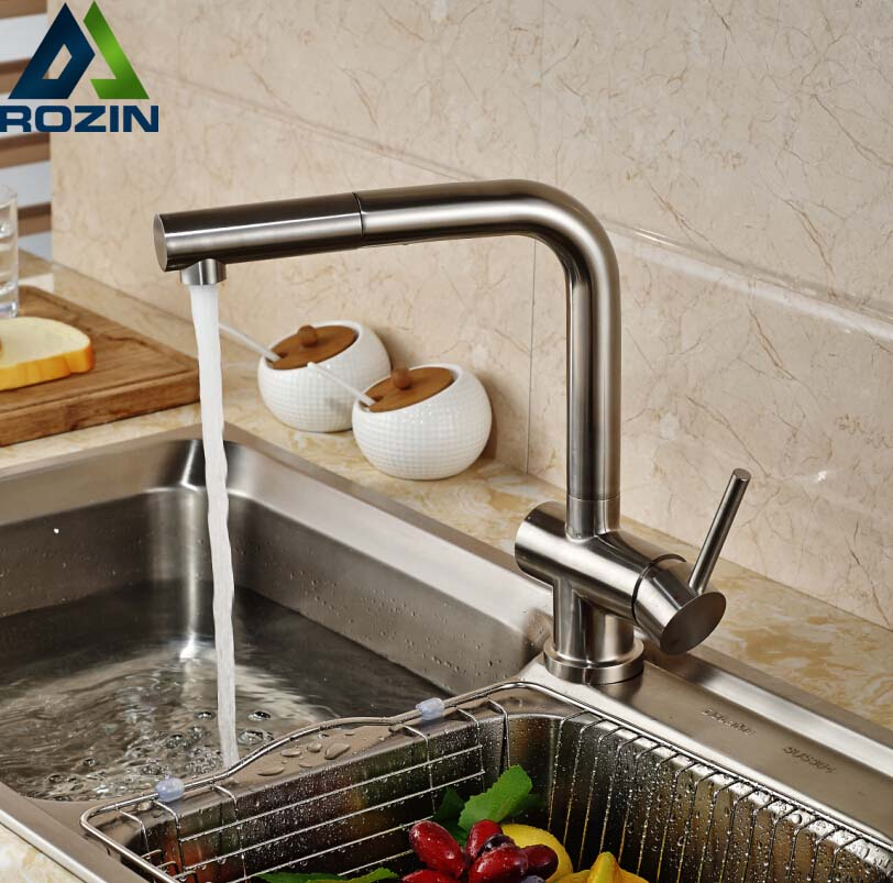 Deck Mount Single Handle Pull Out Hot Cold Water Kitchen Faucet One Hole Nickel Brushed brushed nickel kitchen sink faucet tap pull out 360 rotation 1 handle single hole deck mount with hot and cold water