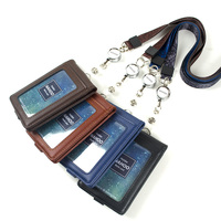 2018 Retro Genuine Leather Lanyards Id Badge Holder Flight Crew Business Bank Credit Card Holders Case Personalized Neck Strap