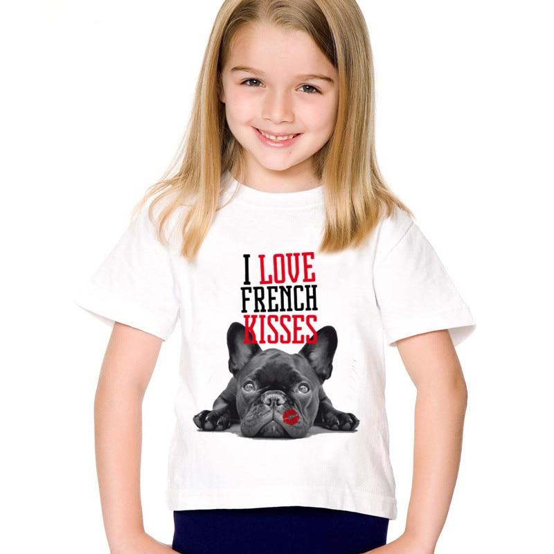 FleißIg Mode Drucken Ich Liebe Französisch Bulldog Küsse Kinder T-shirts Kinder Lustige Sommer Tees Jungen/mädchen Casual Tops Baby Kleidung, Hkp2123