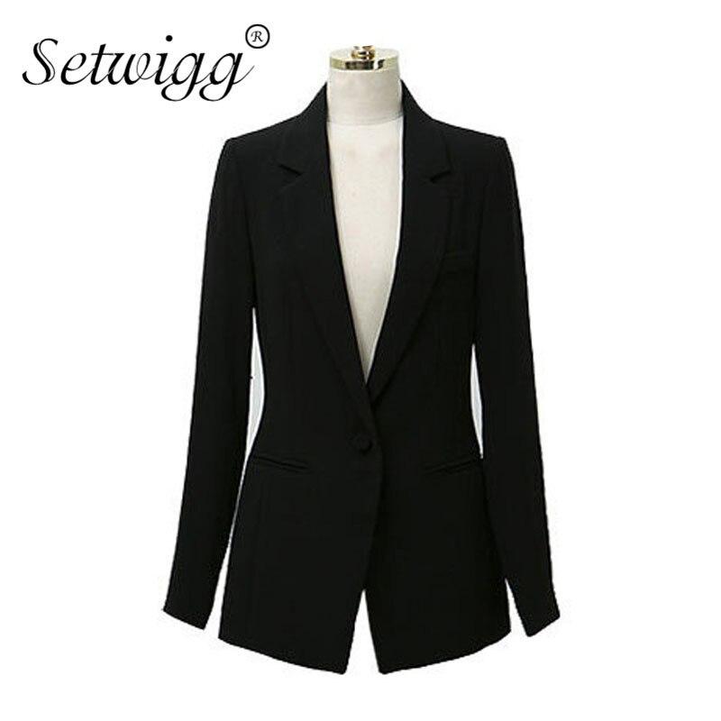 SETWIGG Womens Spring Solid Black Single Button Slim Long Suit Collar Designer Brief & Classic Business OL Blazer & Jacket