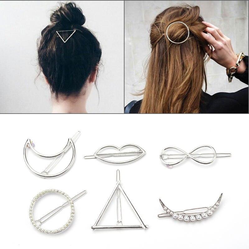 Металлическая Заколка в виде геометрических фигур жемчужная заколка женские аксессуары для волос бабочка клип темперамент головной убор модный простой уличный тренд