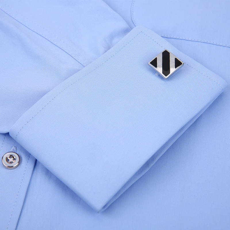 Image 5 - Men's Dress Shirts French Cuff Blue White Long Sleeved Business Casual Shirt Slim Fit Solid Color French Cufflinks Shirt-in Dress Shirts from Men's Clothing