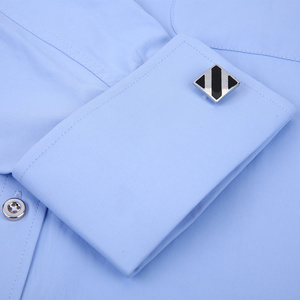 Image 5 - Mens Dress Shirts French Cuff Blue White Long Sleeved Business Casual Shirt Slim Fit Solid Color French Cufflinks Shirt