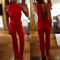 2018 New Sexy Sleeveless Backless Lace Slim Fitted Jumpsuit