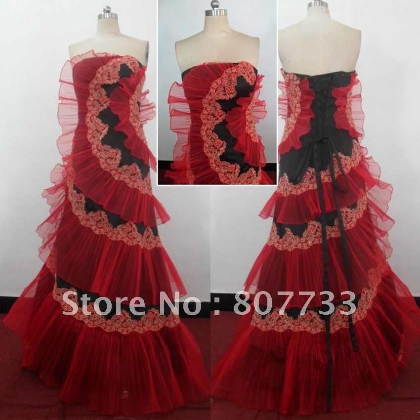 72093334b370a Free shipping Wholesale price pleated organza red and black real samples new  evening dresses-in Evening Dresses from Weddings   Events on Aliexpress.com  ...