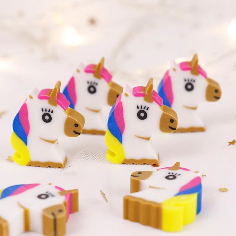 MIRUI Cute Cartoon Creative Unicorn Pencil Rubber Eraser Kawaii Mini Animal For School Stationery Kids Prize Toys Gift