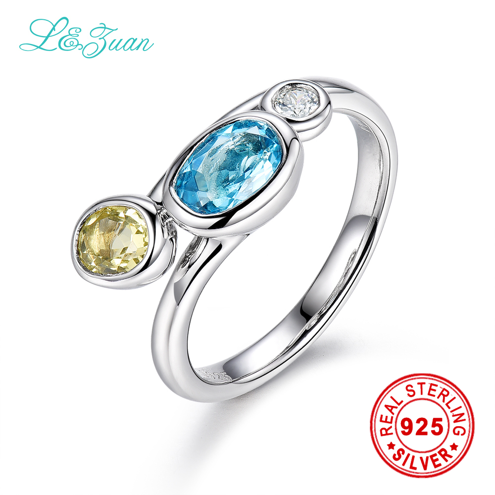 l&zuan Trendy & Noble Sterling Silver Jewelry Ring 1.61ct 3 Colors Topaz Blue Stone Prong Setting Ring Jewelry For Women Ring пылесос centek centek ct 2514