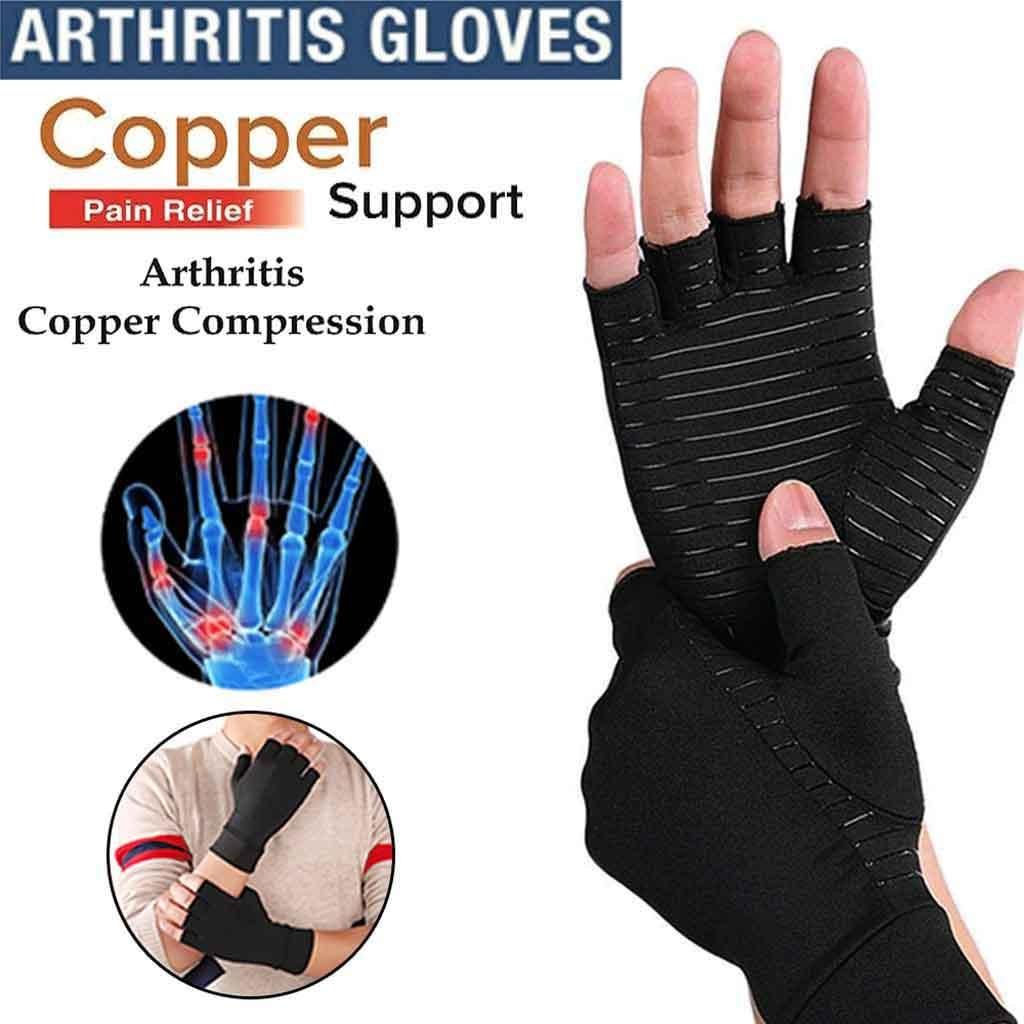 Copper Compression Gloves Arthritis Fit Carpal Tunnel Hand Wrist Brace Support H