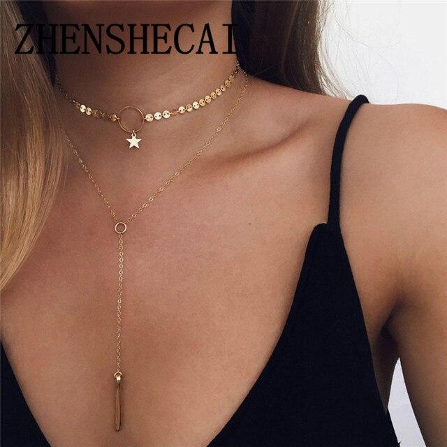 Мода 2017 г. сплав Для женщин Ожерелья и подвески колье ожерелье Мода цвет золотистый кристалл кулон Цепочки и ожерелья для Для женщин подарок x291